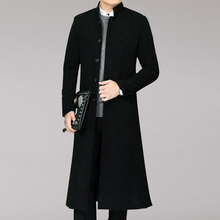 Long Winter Man Coat Woolen Coatl Blend Mens Wool jacket Single Breasted Woolen Overcoat Long Parka