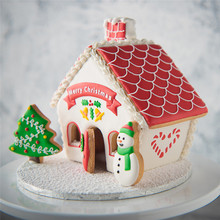 8 pcs 플라스틱 쿠키 커터 세트 3d 크리스마스 진저 하우스 퐁당 케이크 쿠키 장식 설탕 공예 금형 커터