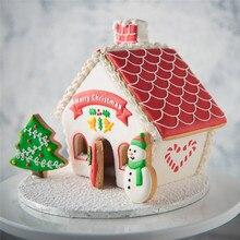 8 قطعة قاطع الكعك البلاستيكي مجموعة ثلاثية الأبعاد عيد الميلاد الزنجبيل منزل فندان كعكة كوكي تزيين السكر الحرفية قالب القاطع