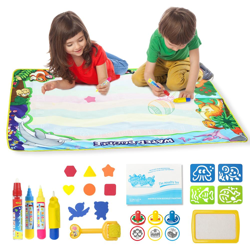 8 Types Reusable Magic Water Drawing Mat With Drawing Pens & 1 Stamp Set Coloring Doodle Board Educational Toys For Children