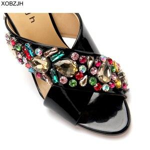 Image 2 - Сандалии стразы женские на высоком каблуке, роскошные брендовые дизайнерские босоножки, свадебная обувь с открытым носком, черные, лето 2019