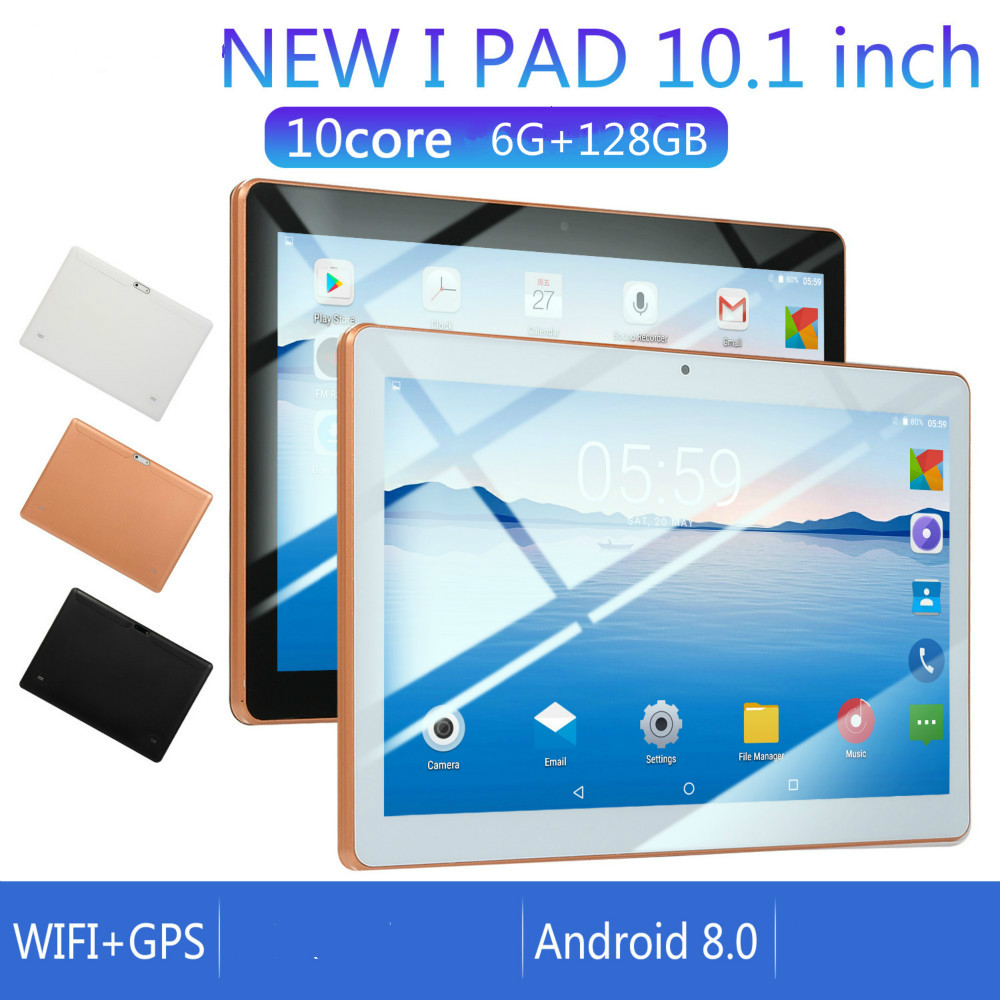 2020 New 10 Inch Android 8.0 Tablet Android Octa Core RAM 6GB ROM 128GB Tablet Dual SIM Card Phone 4G Call Wifi Tablets PC
