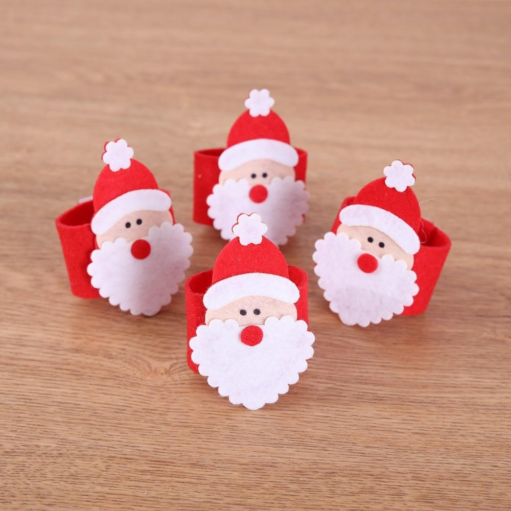 Nicht-woven Santa Claus Serviette Ring 12 teile/los Weihnachten Serviette Set Tisch Dekoration Handtuch Ringe Hotel Serviette Schnalle Weihnachten ornament