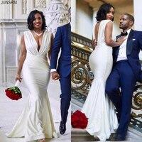 2020 Mondern Sexy Design Mermaid Wedding Dress Black Girl Backless Deep V Neck Pleats Court Train Long Bridal Gowns Custom Size