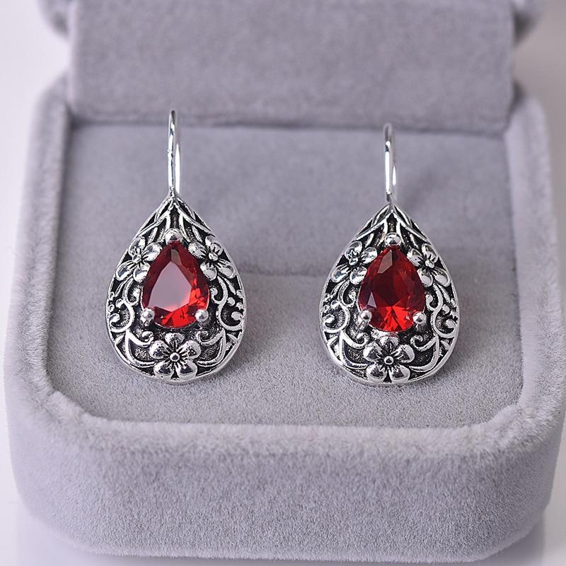 Solid S925 Silver Ruby Diamond Earring For Women Waterdrop Pear Earrings Carved Red Topaz Gemstone Garnet Earrings