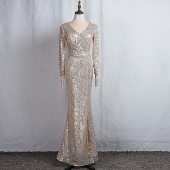 Long Sleeves Evening Gowns Champagne Gold V-neck Split Formal Dress K059 Long Mermaid Robe De Soiree 2020 Sequins Evening Dress 1