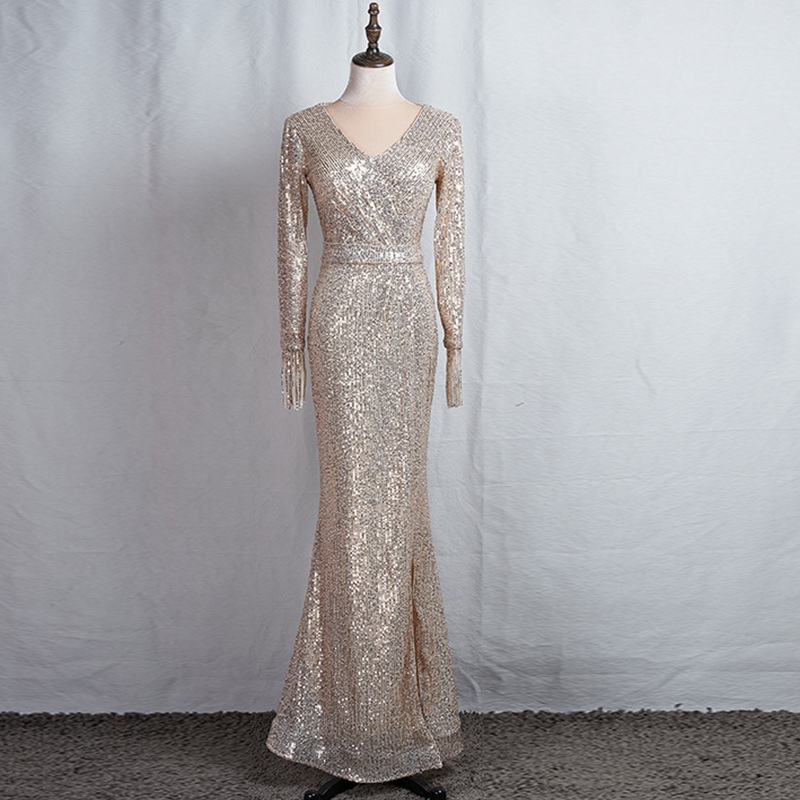 Long Sleeves Evening Gowns Champagne Gold V-neck Split Formal Dress K059 Long Mermaid Robe De Soiree 2020 Sequins Evening Dress