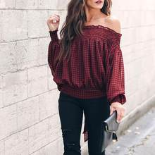 Women Casual Shirt Plaid Lattice Long Sleeve Bow Tie Off Shoulder Blouse Shirt Top Sexy Red Top Blouse Female Clothing #0820(China)