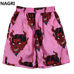 Harajuku Shorts Elastic-Waist Streetwear Devil Hawaiian Unisex Summer Full-Printed Beach