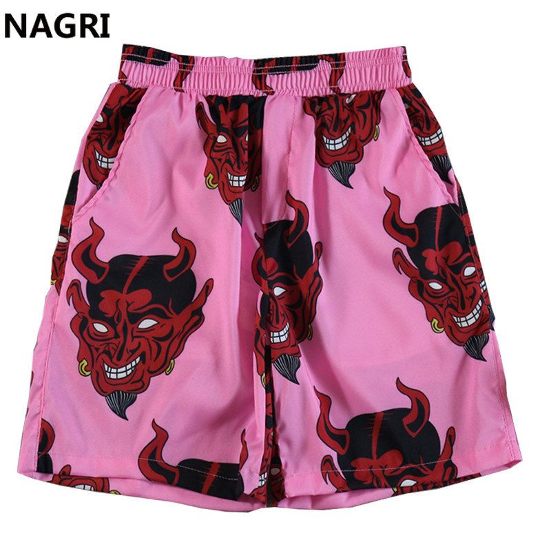 Devil Full Printed Full Printed Shorts Men Women Unisex Hip Hop Streetwear Hawaiian Elastic Waist Summer Beach Harajuku Shorts