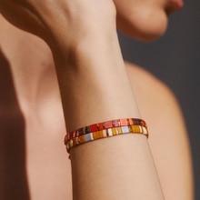 Go2boho miyuki tila grânulos pulseiras para acessórios femininos exclusivo pulseira jóias presente para ela pulseras vidro grânulo jóias