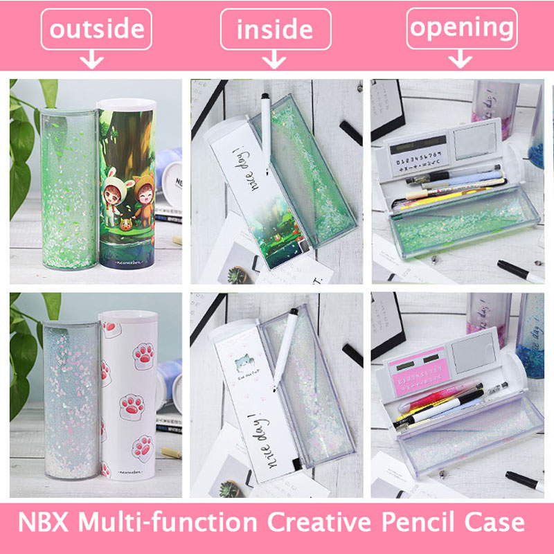 GREENWISH Creative Multi-Function Pencil Case Organizer Pencil Box Holder with Calculator Mirror and Erasable Whiteboard Large-Capacity Cute Stationery School Pen Holder for Boys Girls