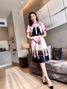Плиссированное Платье с отложным воротником, с животным принтом лошади, для стройной фигуры, вечерние платья, весна-лето 2020