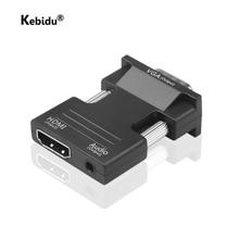 محول HDMI 1080P متوافق مع VGA ، محول فيديو أنثى بمنفذ صوت ، 3.5 مللي متر لجهاز PS4 ، الكمبيوتر المحمول ، الكمبيوتر الشخصي ، التلفزيون ، الشاشة ، جهاز العرض