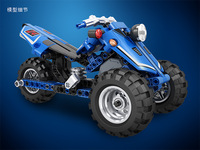 7081/7082 Assembled Warrior Motorcycle 2 in 1 High Tech Toy Creative Building Blocks Furnishings Model