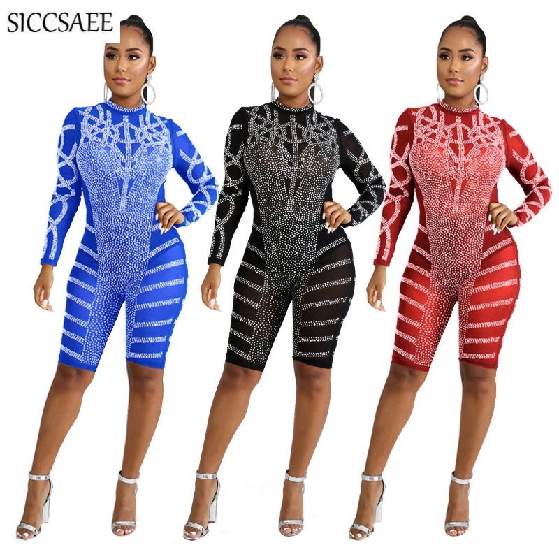 Turtleneck See Through Mesh Bandage Jumpsuits For Women 2019 Luxury Back Zip Bodycon Playsuits Rhinestone Beading Bodysuit Sexy