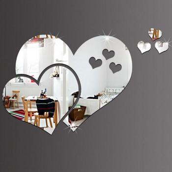 1 Pza amor corazón forma diseño espejo sofá TV Fondo hogar pared pegatinas habitación decoración precio bajo venta al por mayor