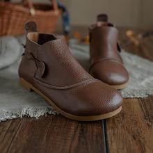 Chelsea-Boots Round-Toe Retro Women for Soft Handmade Fall Coffee/brown Winter