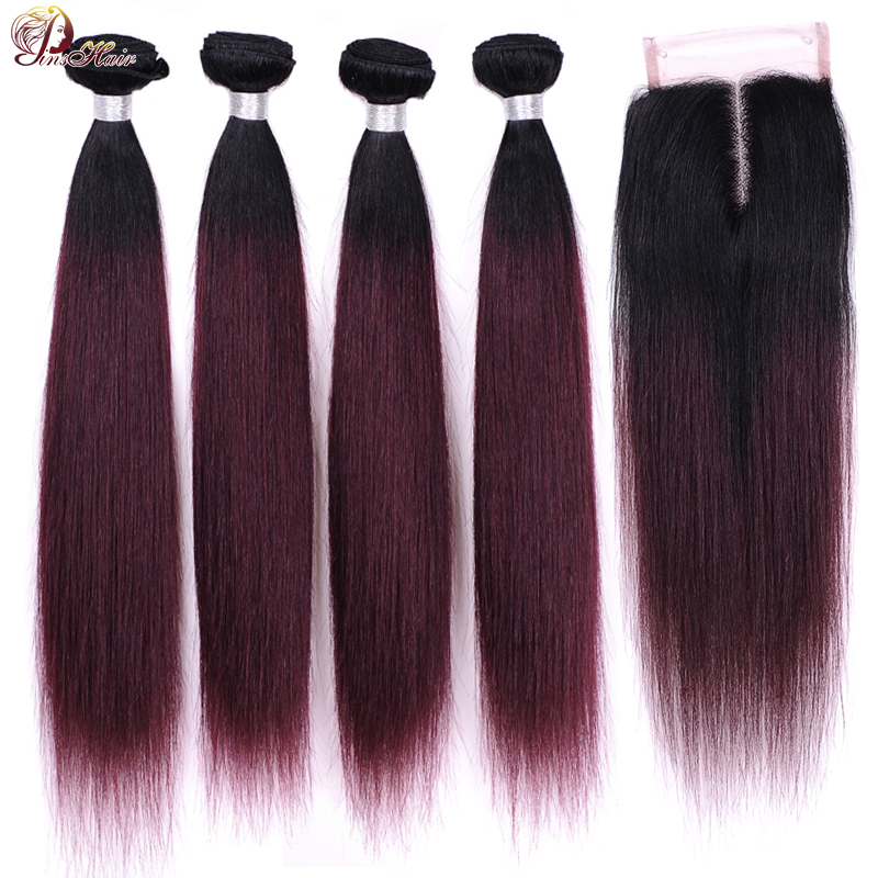 1B 99J Burgundy Bundles With Closure Ombre Brazilian Hair Straight 4 Bundles With Closure Red Human Hair Weave Pinshair Non Remy