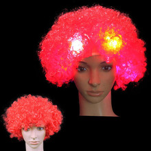 Dress up Explosion Styles led Wigs Curly Hair Football Fans Party Hats Headwear Birthday Party Decoration Carnival Christmas(China)