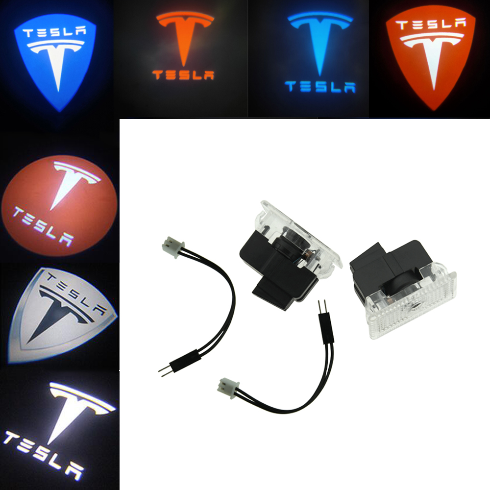 2pcs Car Door <font><b>LED</b></font> Logo Lights Projector Ghost Shadow Light Accessories For Tesla MODEL S MODEL X MODEL 3 MODEL Y image