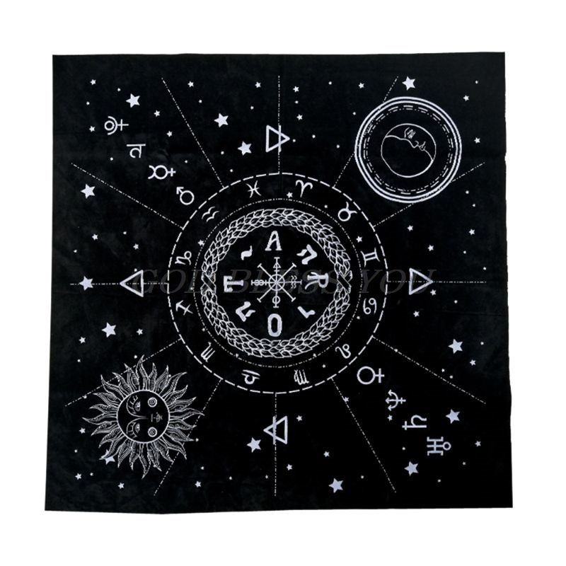 1pc 49*49cm Tarot Tablecloth Twelve Constellations Sun Moon Pentagram Pagan Altar Divination Board Game Tarot Cloth Flannel
