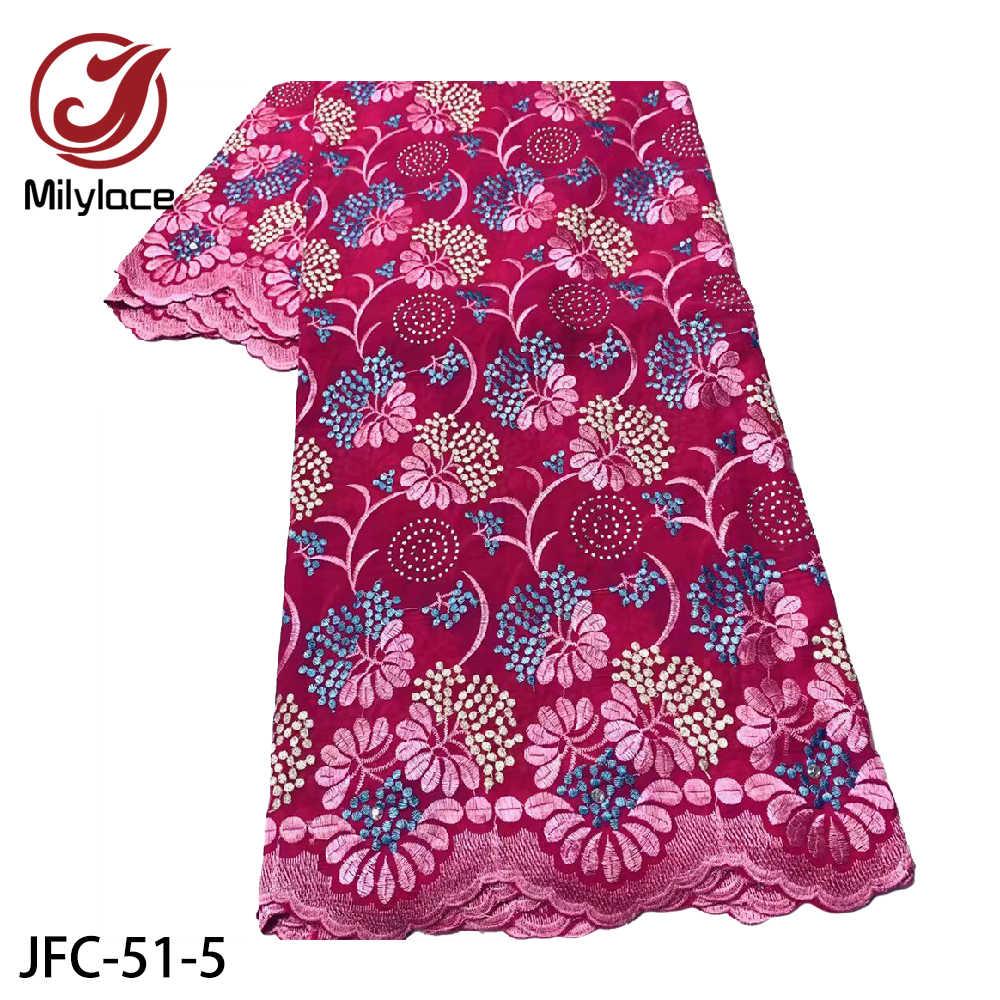 Африканская хлопчатобумажная кружевная ткань с вышитыми камнями швейцарская кружевная ткань в Швейцарии для свадебного платья 5 ярдов JFC-51