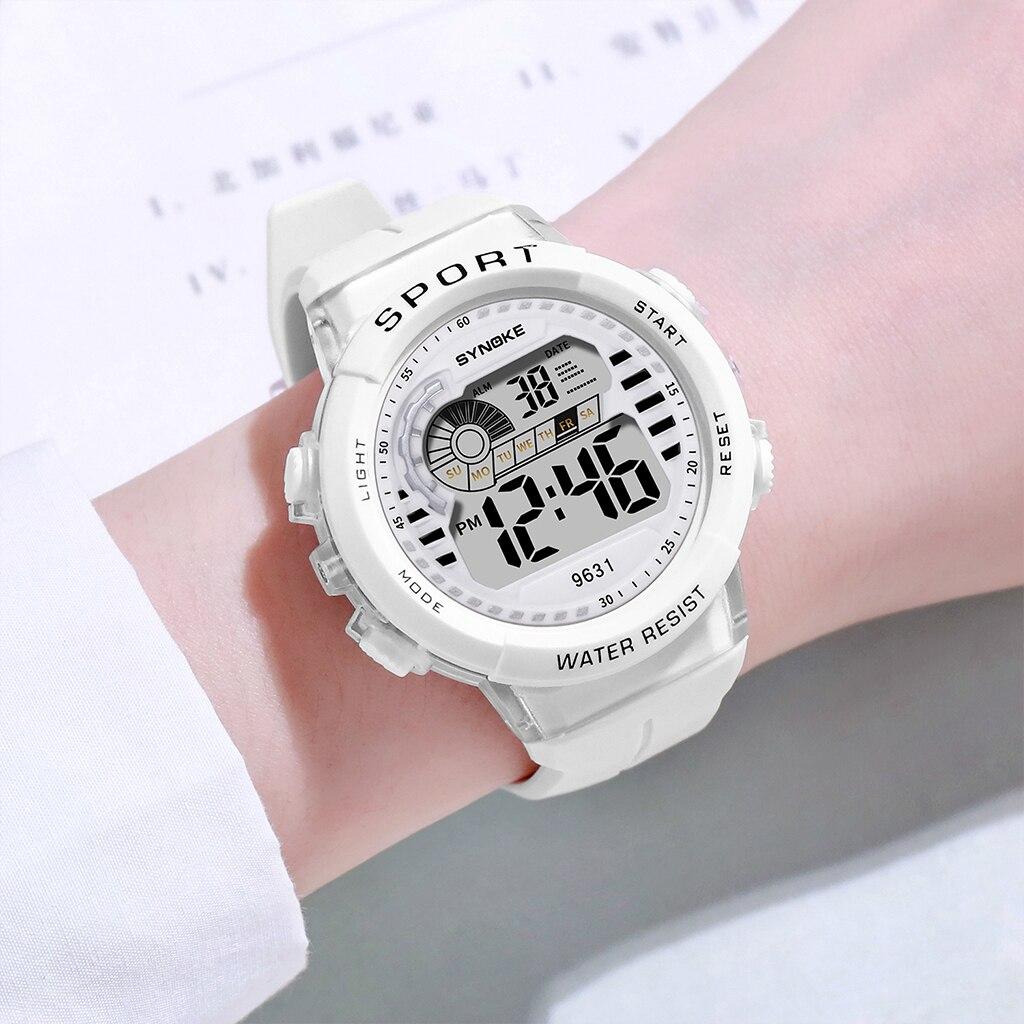 SYNOKE Дети Часы Мальчики Девочки Спорт Цифровой Наручные Часы Водонепроницаемый Зеленый Силикон Ремешок Студент Relogio Цифровой Светодиод Часы