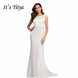 Это Yiya элегантное вечернее платье Русалка Женские вечерние платья с круглым вырезом без рукавов Robe De Soiree Вышивка Вечерние платья C530