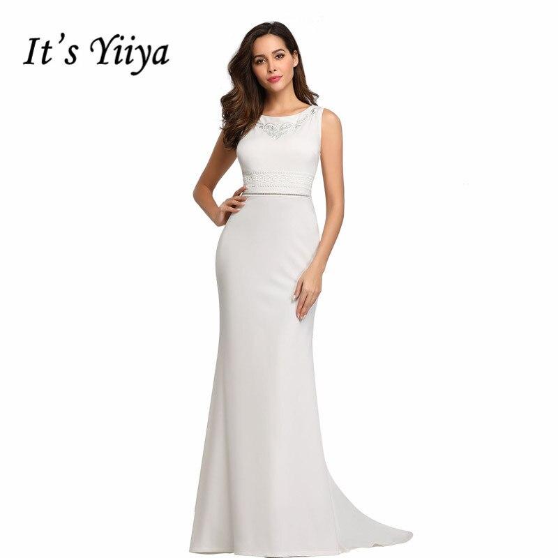 It's Yiiya Evening Dress Elegant Mermaid Women Party Dresse O-neck Sleevelss Robe De Soiree Embroidery Evening Gowns C530