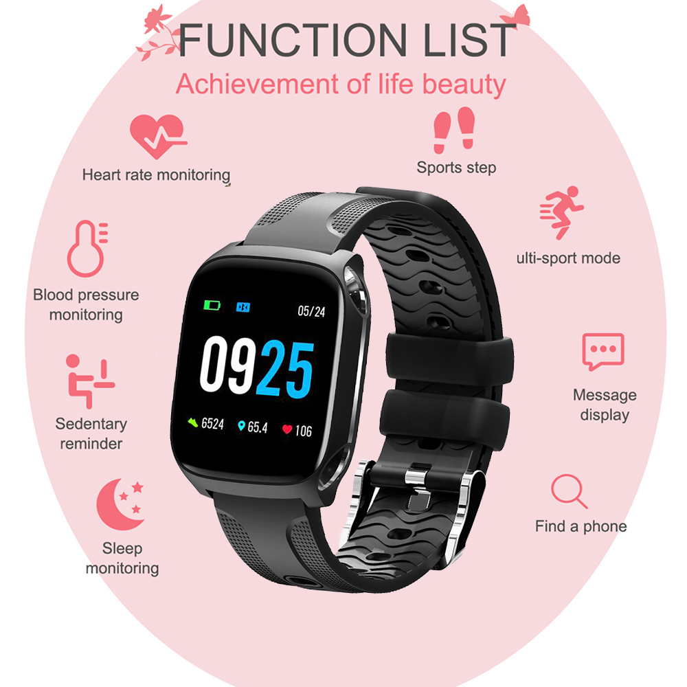 Smart Watch Heart Rate Blood Pressure Monitor IP67 Waterproof TF9 1.3 Inch Full Screen Touch Wristwatch Men's Sports Smart Watch