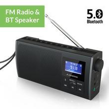 Avantree Soundbyte Radio FM portatile e altoparlante Bluetooth 5.0 2 in 1, doppio suono Stereo a 2.0 canali altoparlante 6W, retrattile