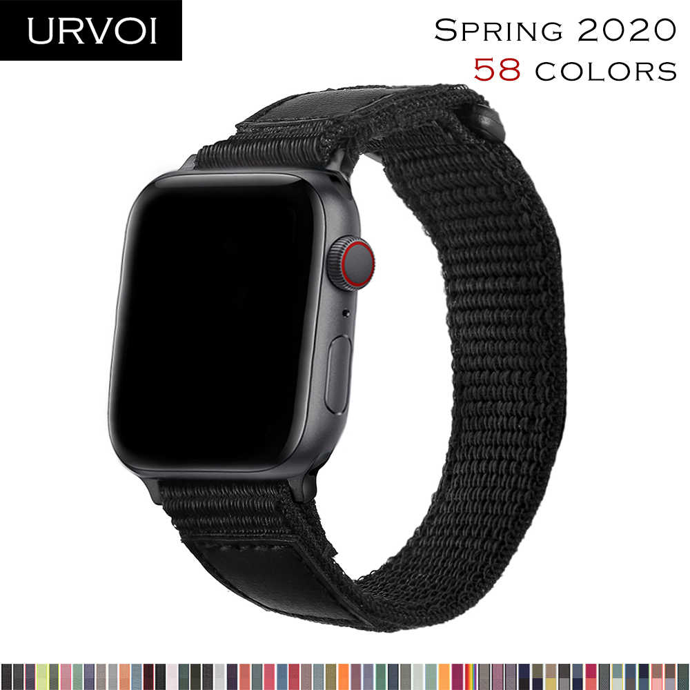 Urvoi Sport Loop Voor Apple Watch Band Serie 5 4 3 2 1 Reflecterende Band Voor Iwatch Geweven Nylon Dubbele laag Ademend 2020
