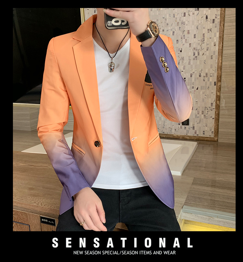 H382f05a758964f12a7b6400fd49b88d7F - Male Gradient Blazer Masculino 2020 Spring Autumn Korean Style Blazer For Men Suit Jacket Casual Wedding Business Clothing