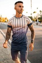 2020 nova marca masculina elegante legal camiseta, estilo casual listrado hip-hop manga curta elemento de rua impresso topo, atacado