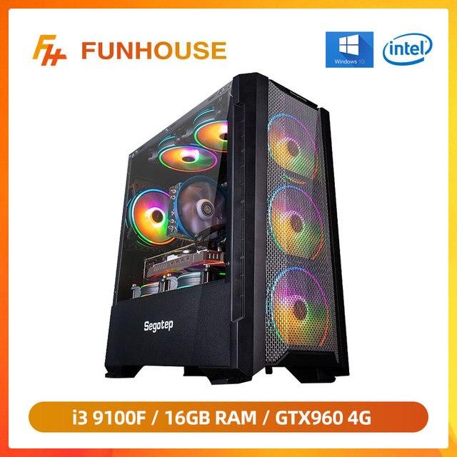 Funhouse 9th I3 9100F/GTX960 4G 240G SSD 8G/16G RAM Internet Cafe PUBG Computer Desktop Complete Game Assembly Machine DIY Compu