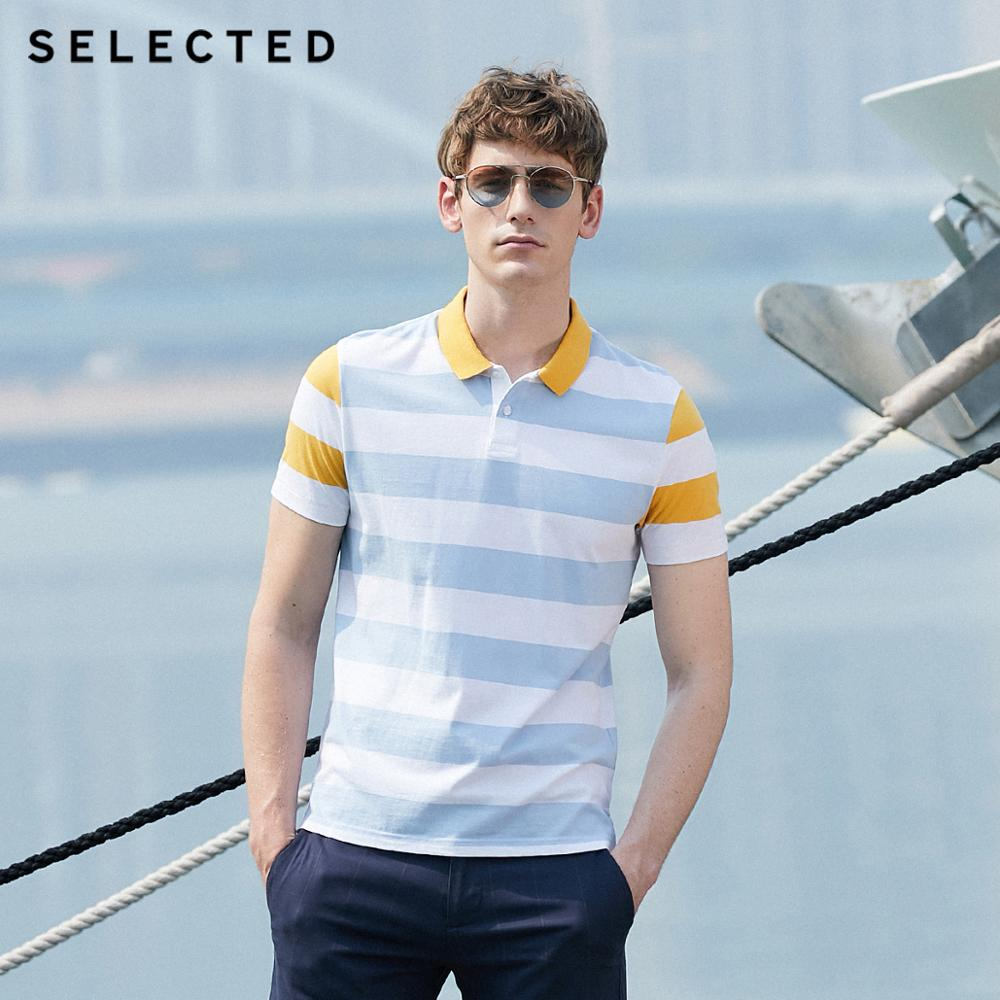 SELECTED Men's Summer 100% Cotton Spliced Short-sleeved Poloshirt S|419206556