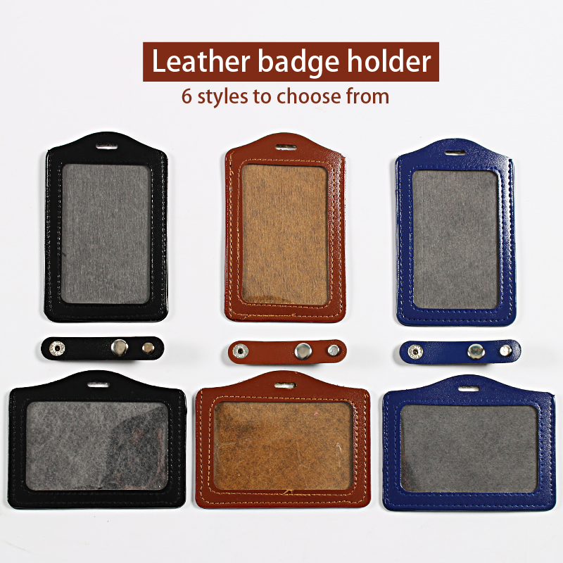 Transparent Leather Badge Holder Badge Case Clear Badge Id Card Holder Name Tag Bage Holder
