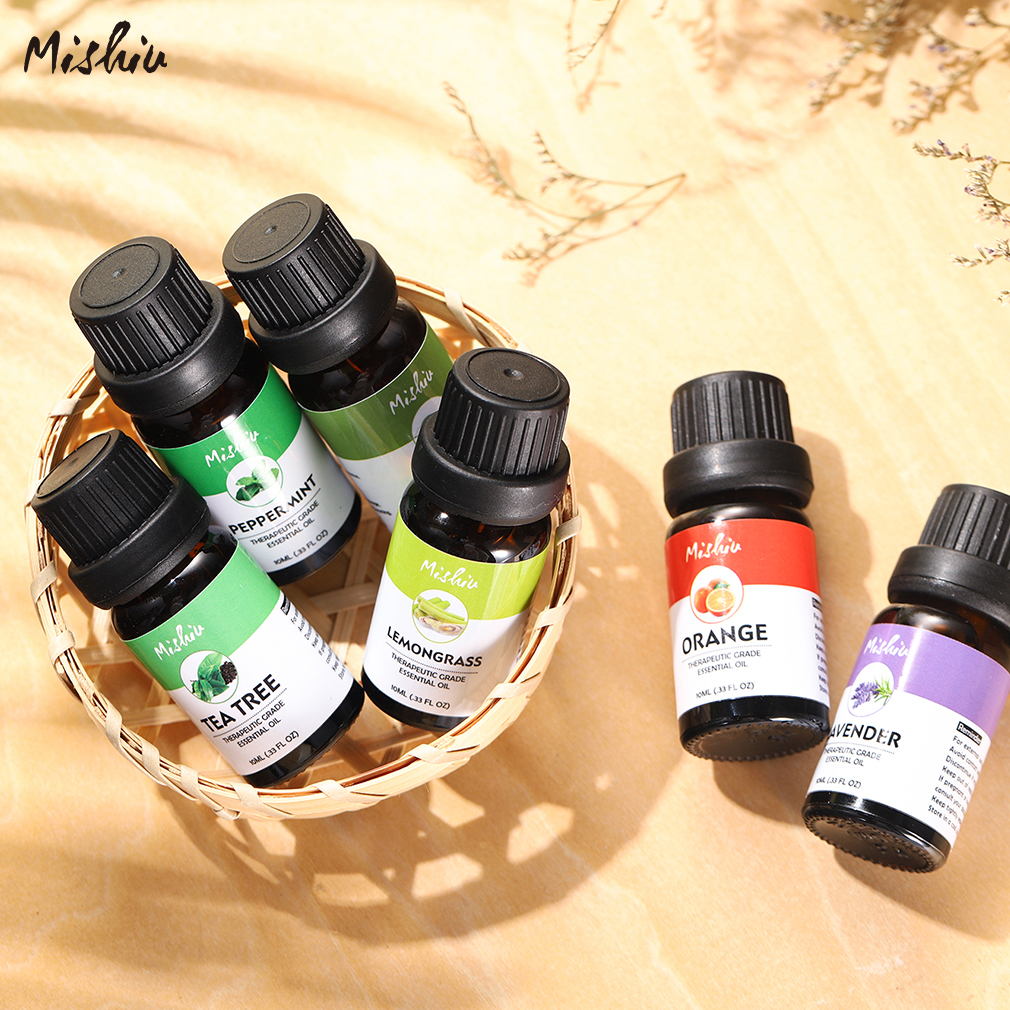 MISHIU 6Pcs/set Pure Natural Essential Oils Massage Aromatherapy Fragrance Set Gift Box 10ML Humidifier Orange Tea Tree