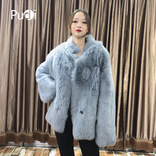 women winter Real Tuscan sheep fur coat stand collar jacket overcoat lady female genuine sheep skin leather coats TX206204(China)