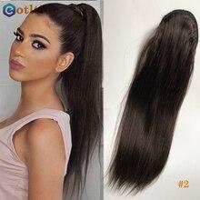 Extensions de cheveux brésiliens Remy avec queue de cheval pour femmes, postiche naturel avec Clip