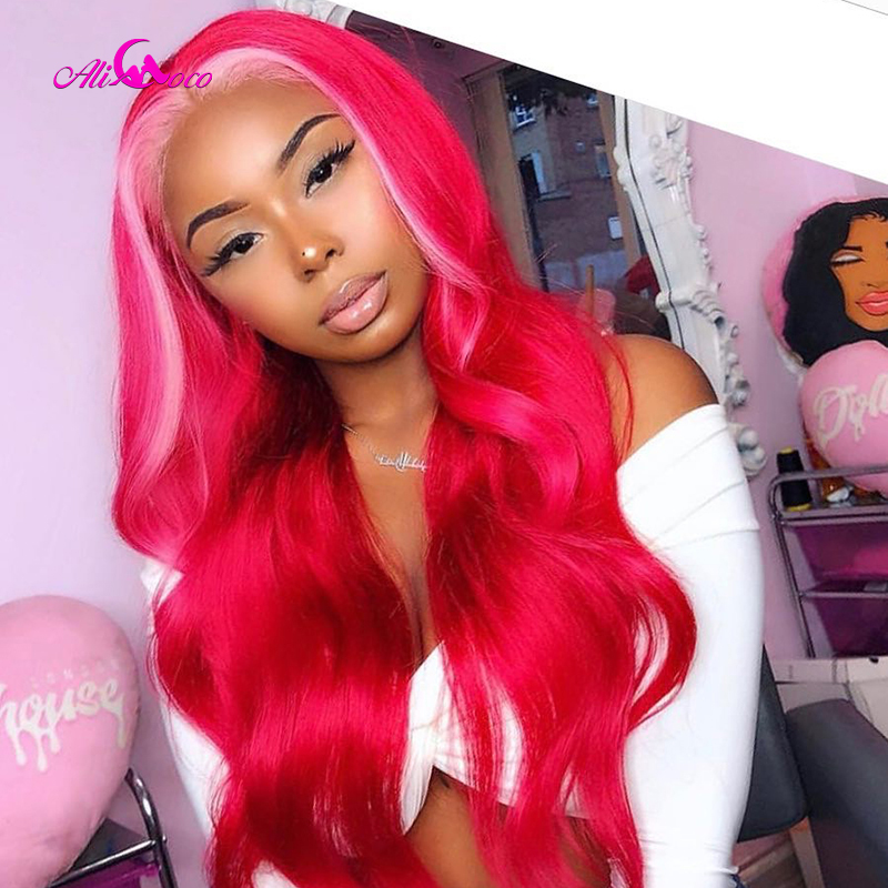 ALI Coco Red Lace Front Human Hair Wigs Highlights 13X4 Brazilian Remy Ombre Blonde 613 Pink Green Blue Purple Colored Wig