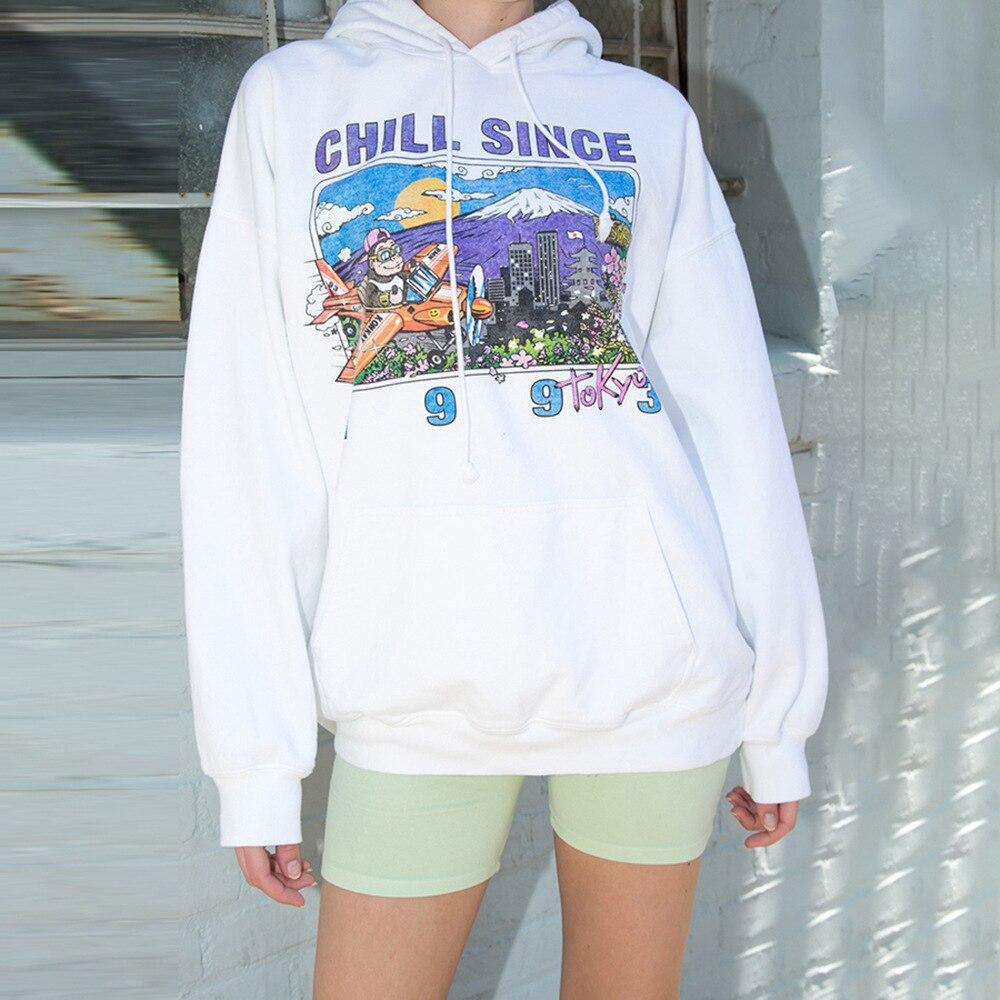 Streetwear Loose Printed Sweatshirt Female 2019 Autumn Winter White Sweet Long-sleeved Hooded Coat Women Jogger Sports Jacket