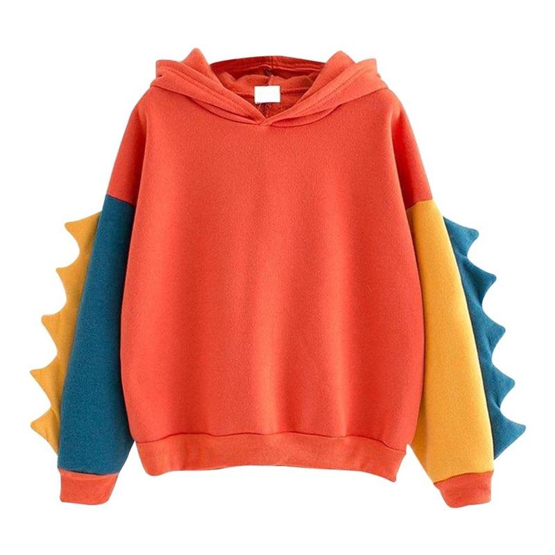 Feminine Coat Fashion Women Casual Loose Long Sleeve Splice Dinosaur Sweatshirt Tops Pullover Coat Sweater Women's Sweater