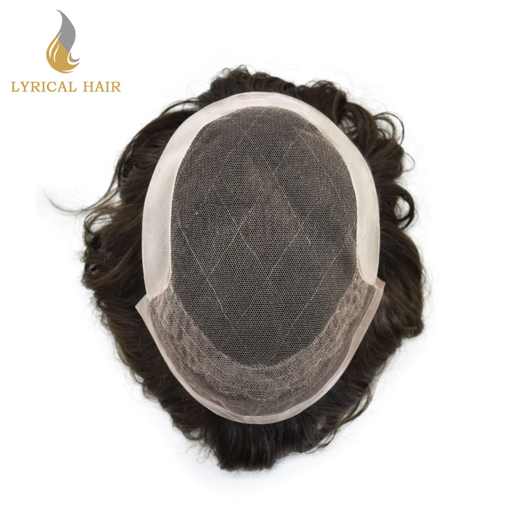 Mens Toupee Lace Human Hairpiece French Natural-Black Color 1B 8-Poly-Coating Transparent