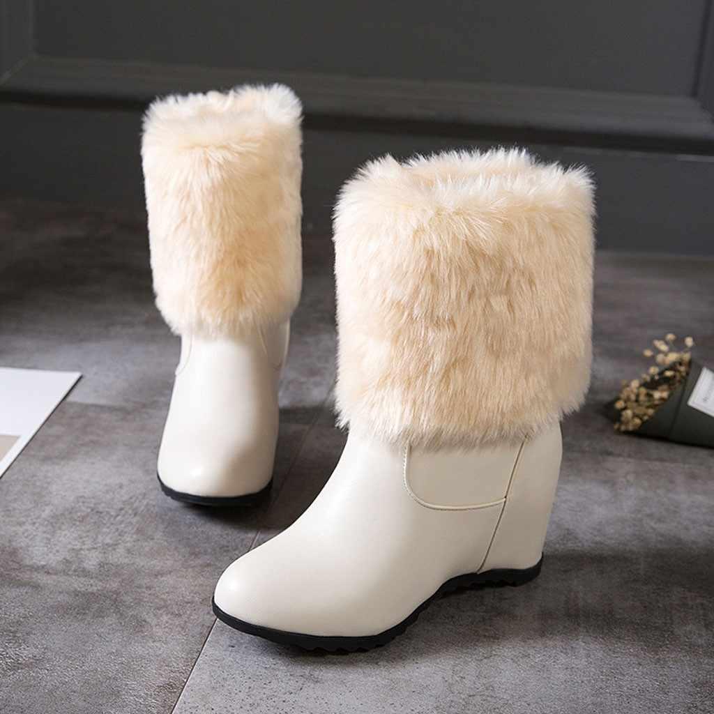Kar botları Kadın Martin Çizmeler Sıcak Çizmeler Klasik Peluş astar yarım çizmeler dahili ısınma sıcak Kürk Peluş Kadın Ayakkabı Zarif