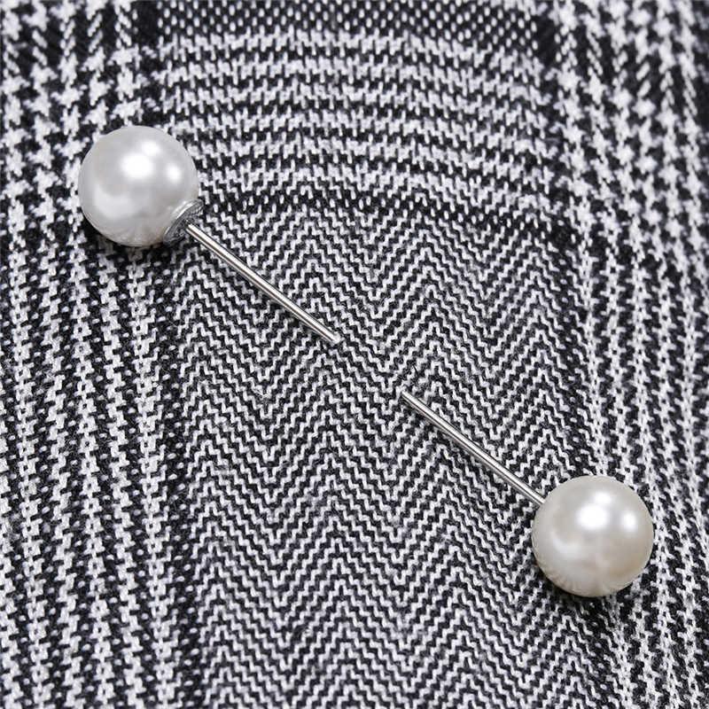 Sangat Panas Warna-warni Imitasi Double-Headed Paduan Mutiara Wanita Bros Menawan Pin Laporan untuk Pesta Perhiasan Bijoux Aksesoris