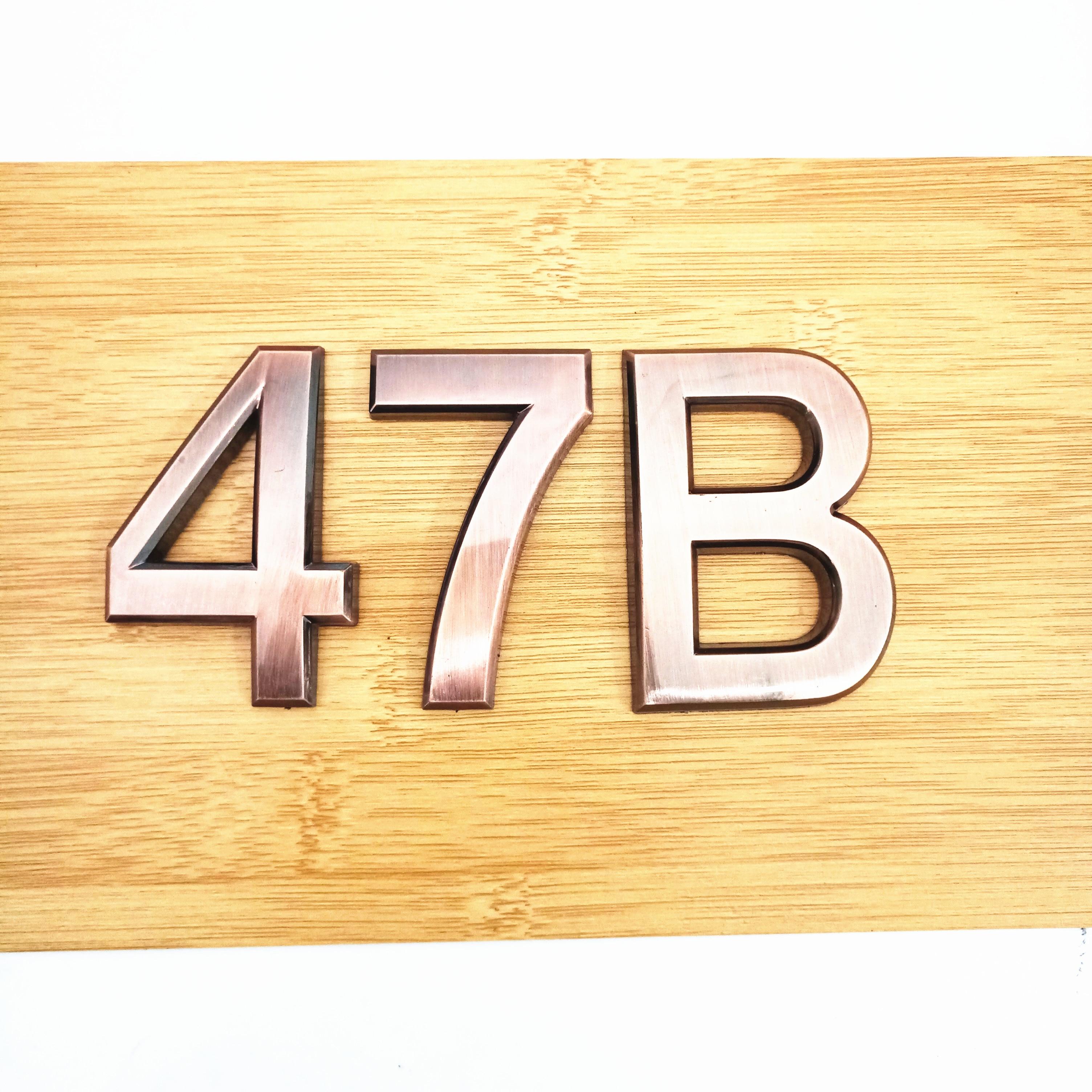 5cm/7cm Door Plate 0123456789A-Z Bronze Color ABS Plastic Plaque Number House Hotel Door Address Digits Sticker Plate Sign(China)