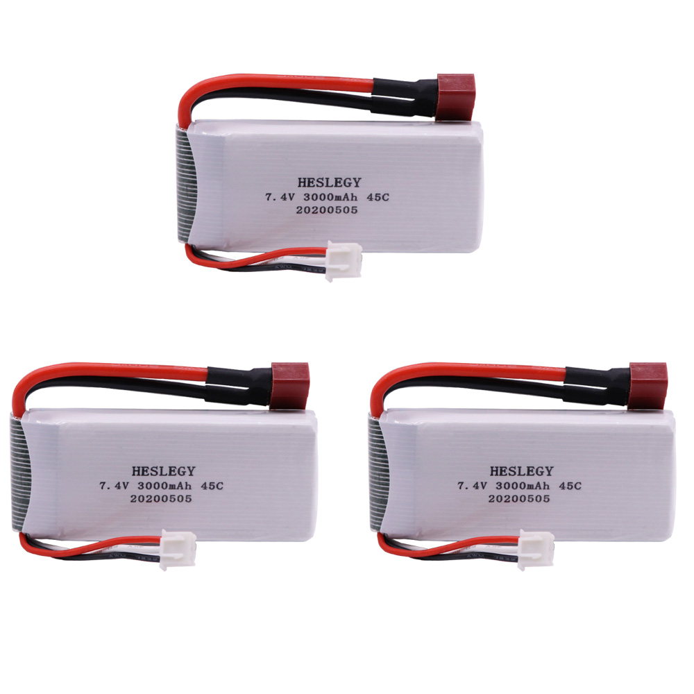 <font><b>2S</b></font> 7.4V <font><b>3000mAh</b></font> RC <font><b>Lipo</b></font> Battery For Wltoys 12428 12423 Remote Control toys Cars upgrade 7.4V parts Battery T Plug 1/2/3/5/10PCS image
