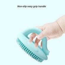Детская силиконовая щетка для ванны, мягкая, удобная, очищающая кожу, Детская щетка для тела, щетка для чистки волос, одноцветная, безопасная, удобная